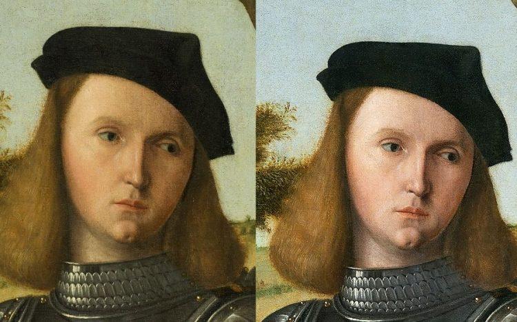 Detall del rostre del cavaller abans i després de la restauració. Foto d'Hélène Desplechin.